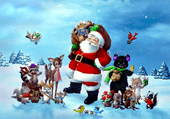 Puzzle Puzzle de Noël - Le père noel et ses amis animaux