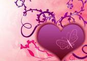 Taquin coeur rose papillon