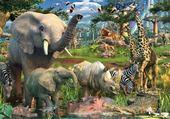 Puzzle animaux africain au point d'eau