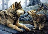 Jeu puzzle deux loups c'est trop chou