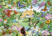 Puzzle jardin et papillons