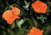 Puzzle gratuit colibris et ibiscus