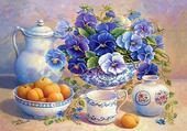 Jeu puzzle fleurs et fruits