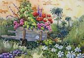 Jeux de puzzle : brouette de fleurs