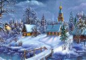 Jeu puzzle carte postale sur la neige