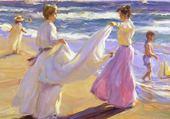 Jeunes femmes sur la plage -steer
