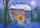 Jeux de puzzle : maison sous la neige
