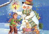 Jeu puzzle bonhomme de neige