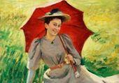 Puzzle Jeu puzzle femme à l'ombrelle rouge-Frieseke