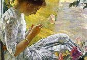 Puzzles femme coupant des fleurs - Buehr