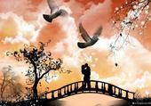 Puzzle amoureux sur un pont