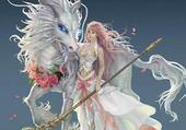 cheval-dragon et sa cavalière