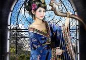 Puzzle gratuit Chinoise à la harpe