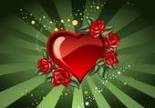 coeur fond vert