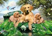 Puzzle gratuit Maman et ses bébés chiens