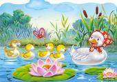 Jeux de puzzle : famille canard