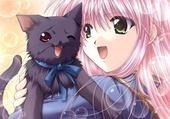 fille et son chaton