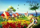 Puzzle village coquelicots