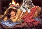 la femme et le loup