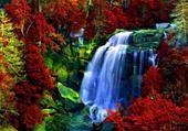 Puzzle cascade en automne