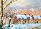 maison normande sous la neige