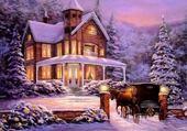 Puzzle beau paysage de Noël