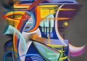Pastel abstrait Poussin