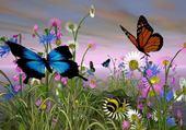 Fleurs et papillons