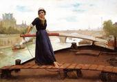 fille sur une barque -henri bacon