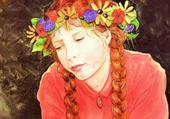 nattes et couronne de fleurs