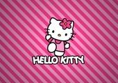 Hello Kitty sur fond rose