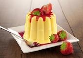 Pudding de coulis de fraises
