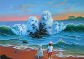 chiens blancs sur vague