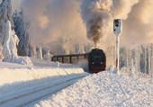 Train dans la neige