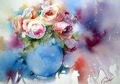 Puzzle rose en vase