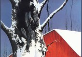 Red Barn and Tree Snow - E. Earle