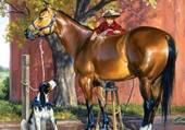 cheval, chien et enfant