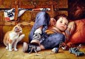 Puzzle garçon et le chat