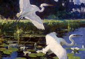 F.W. Benson Herons and Lilies