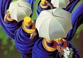 Puzzle Le mariage aux parapluies blancs