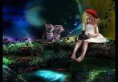 la petite fille et les 2 chats