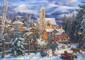 Puzzle village en hiver
