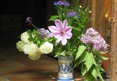 bouquet vase bleu