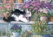 Puzzle chat dans les fleurs