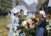Puzzle Marchande de fleurs et demoiselle