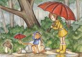 Puzzle sous la pluie