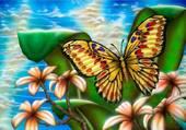 papillon et frangipanier
