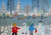 enfants et  bonhomme de neige