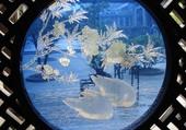 Puzzle Chine vitrail bleu oiseaux