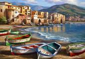 barque au bord de l'eau